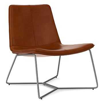 Slope Lounge Chair, Poly, Vegan Leather, Saddle, Charcoal - West Elm