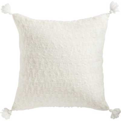 "23"" SVEN WHITE TASSEL PILLOW WITH FEATHER-DOWN INSERT - CB2"