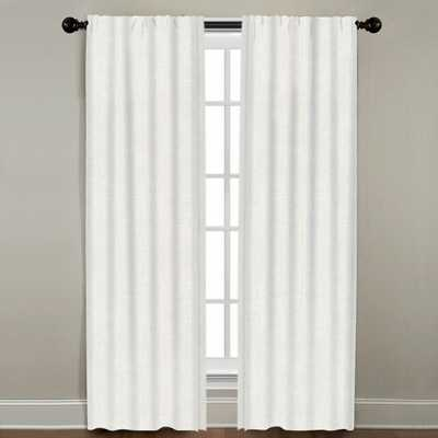 """Linen Border Drapery Panel, Oyster with Snow, 84"""" - Linen & Seam"""