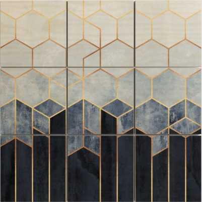 Soft Blue Hexagons Wood Wall Art - Society6