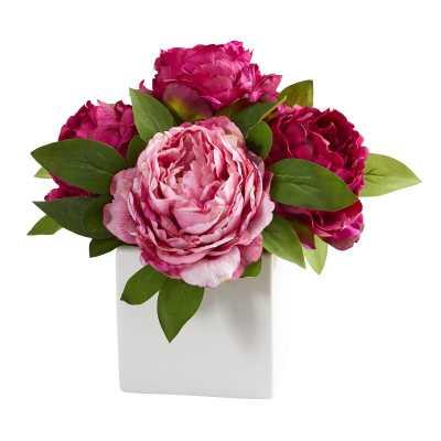 Artificial Peonies Floral Arrangement in Vase - Wayfair