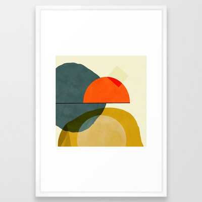 mid century geometric modern painting abstract II Framed Art Print (vector white) - Society6