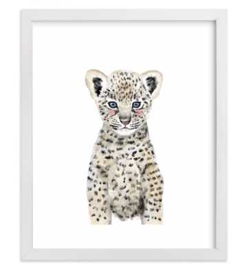 """Baby Animal Leopard, 8""""x10"""", White Wood Frame - Minted"""