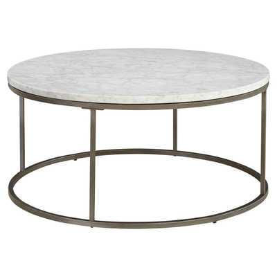 Palliser Alana Round Coffee Table with White Marble Top - Hayneedle