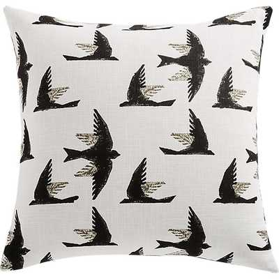 "20"" FLIGHT BLOCK PRINT BIRD PILLOW WITH FEATHER-DOWN INSERT - CB2"