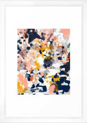 Stella - Abstract painting in modern fresh colors navy, orange, pink, cream, white, and gold Framed Art Print - Society6
