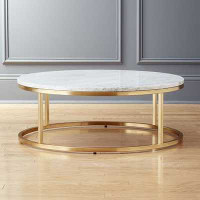 SMART ROUND MARBLE BRASS COFFEE TABLE - CB2