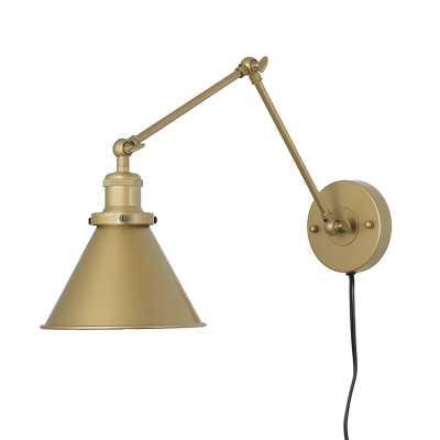 Osias 1-Light Plug-in Armed Sconce, Gold - Wayfair