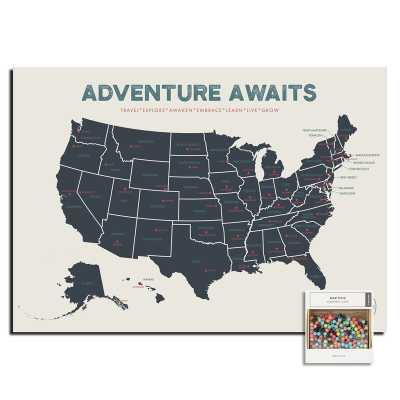 """White USA Map Push Pin Poster 17"""" x 24"""" - Wayfair"""