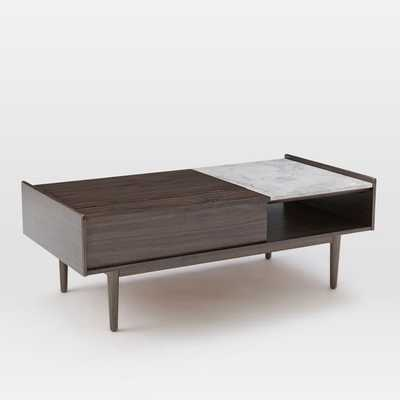 Mid-Century Pop-Up Storage Coffee Table, Dark Mineral/Marble - West Elm
