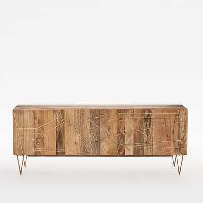 "Roar + Rabbit Geo Inlay Media Console - 68"" - Raw Mango/Brass - West Elm"