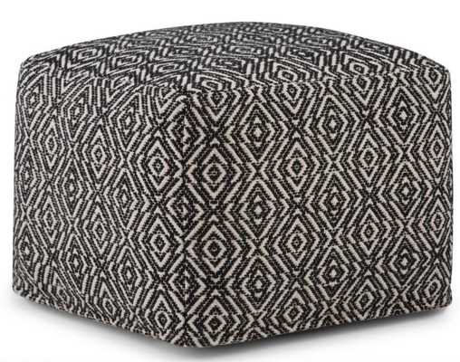 Graham Patterned Black and Natural Square Pouf - Home Depot