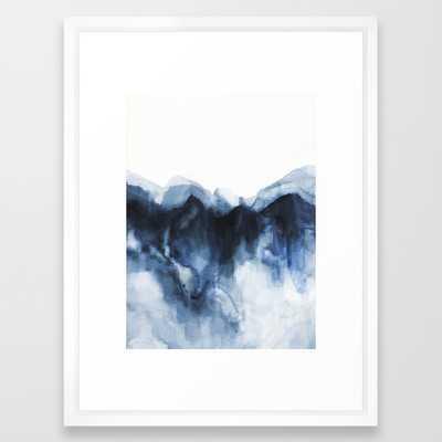 "Abstract Indigo Mountains Framed Art Print- 20"" X 26"" - Vector White - Society6"