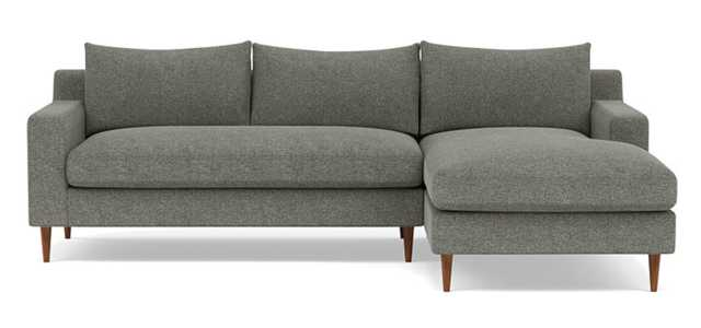 Sloan Right Sectional with Grey Graphite Fabric, down alternative cushions,  bench seatand Oiled Walnut legs, extra deep, standard chaise - Interior Define
