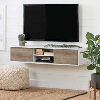Agora Pure White and Weathered Oak 56 in. Wide Wall Mounted Media Console - Home Depot