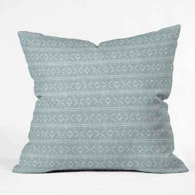 MUD CLOTH STITCH DUSTY BLUE OUTDOOR PILLOW - 18X18 - Wander Print Co.