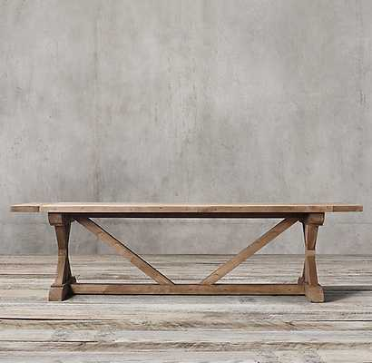"""SALVAGED WOOD X-BASE RECTANGULAR EXTENSION DINING TABLE 84"""" - RH"""