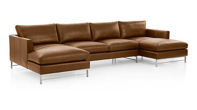Tyson Leather 3-Piece Chaise Sectional with Stainless Steel Base LOGAN WHISKEY - Crate and Barrel