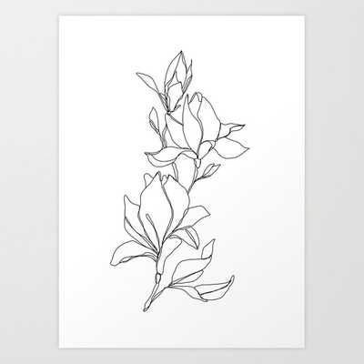 "Botanical illustration line drawing - Magnolia Art Print - Mini 8"" X 10"" - Society6"