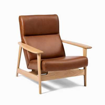 Mid-century Show Wood Highback Chair, Saddle Leather, Nut, Natural Oak - West Elm