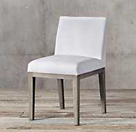 MORGAN FABRIC SIDE CHAIR - Grey Oak - Italian Textured Weave White - RH