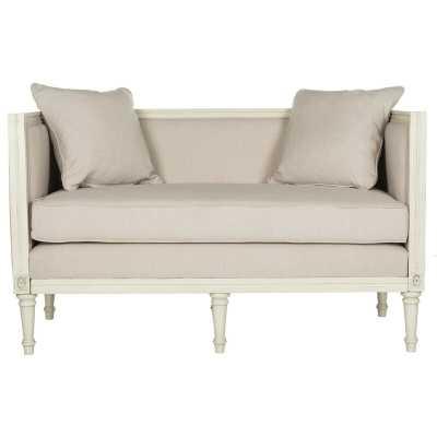 """Beige Fleur 53"""" Recessed Arm Settee Sofa Bed - Wayfair"""
