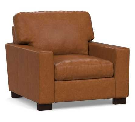 """Turner Square Arm Leather Small Armchair 37"""", Down Blend Wrapped Cushions, Statesville Caramel - Pottery Barn"""