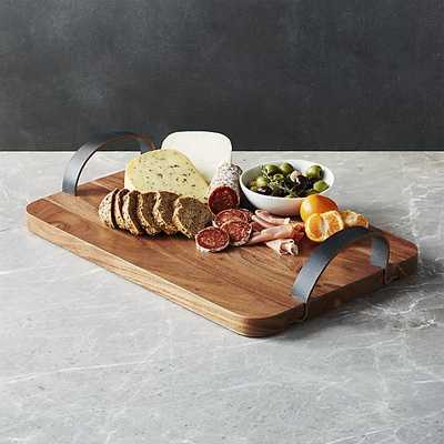 Brantley Serving Board with Leather Handles - Crate and Barrel
