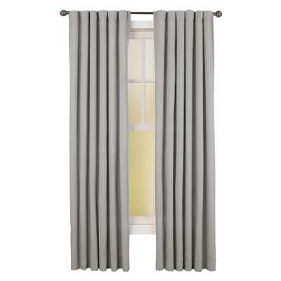 Home Decorators Collection Semi-Opaque Grey Faux Linen Back Tab Curtain - 50 in. W x 108 in. L (1 Panel) - Home Depot