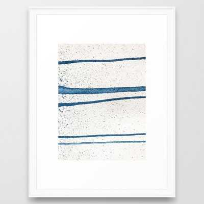 Parallel Universe [horizontal]: a pretty, minimal, abstract piece in lines of vibrant blue and white Framed Art Print - Society6