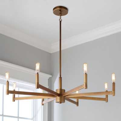 SLEEKLY MODERN SQUARED CHANDELIER - 8 LIGHT - Natural Brass - Shades of Light