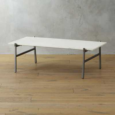 slab small marble coffee table with antiqued silver base - CB2