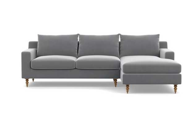 Sloan Chaise Sectional with Elephant Fabric and Natural Oak legs - Right facing - Interior Define
