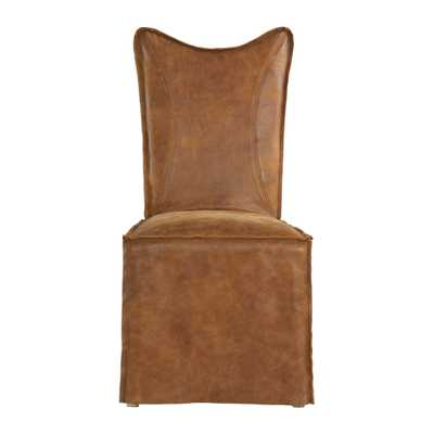 Delroy Armless Chairs, Cognac, Set Of 2 - Hudsonhill Foundry