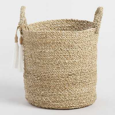Small Seagrass Delilah Tote Basket With Tassels - World Market/Cost Plus