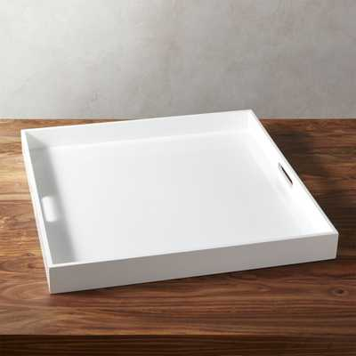 High-Gloss Extra Large Square White Tray - CB2