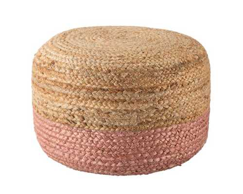 Oliana Ombre Blush/ Beige Cylinder Pouf - Collective Weavers