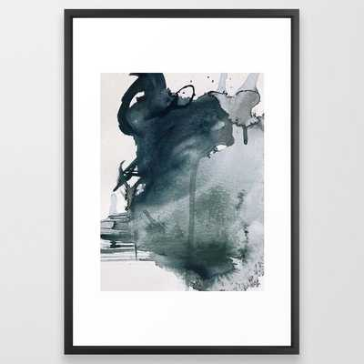 Lakeside: a minimal, abstract, watercolor and ink piece in shades of blue and green Framed Art Print - 26'' x 38''- VECTOR BLACK FRAME - Society6
