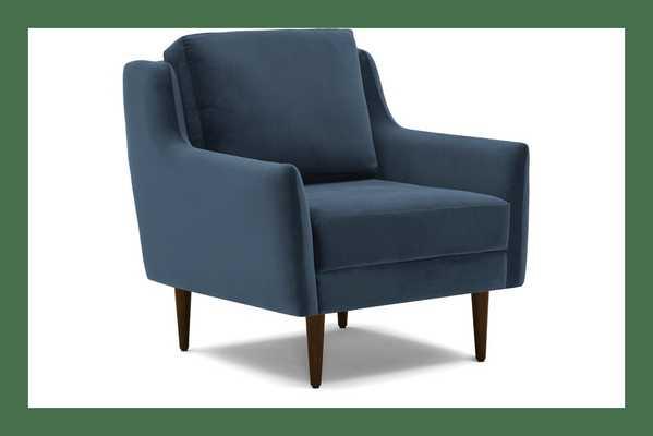 Blue Bell Mid Century Modern Chair - Milo French Blue  - Mocha - Joybird