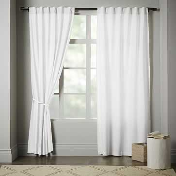 "Linen Cotton Pole Pocket Curtain + Blackout Panel, White, 48""x84"" - West Elm"