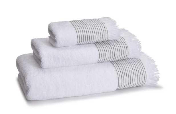 AMAGANSETT LINEN-CUFFED BATH TOWEL - WHITE - Kassatex