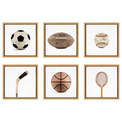 "DesignOvation Sylvie ""Sports"" by Saint and Sailor Studios Framed Canvas Wall Art Set, Natural - Home Depot"