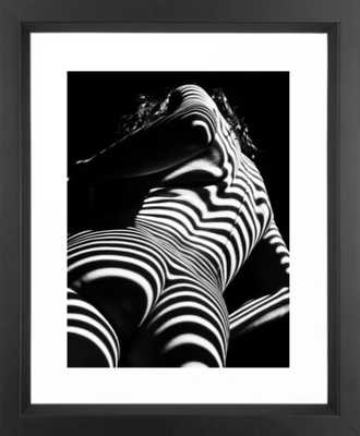 2070-AK Woman Nude Zebra Striped Light Curves around Back Butt Behind Naked Art Framed Art Print - Society6