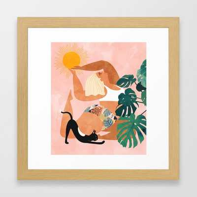 "Tropical Yoga #illustration #tropical Framed Art Print by 83 Oranges- conservation natural 12"" X 12"" - Society6"