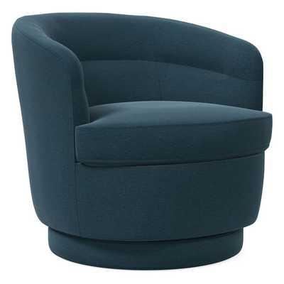 Viv Swivel Chair, Performance Velvet, Lagoon, Concealed Supports - West Elm
