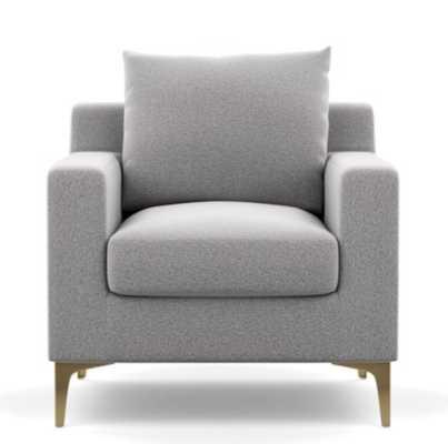 Sloan Petite Chair **Ash/ Brass Plated Sloan L Leg/DOWN ALTERNATIVE CUSHION FILL** - Interior Define