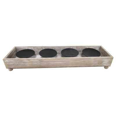 3 in. Wood Outdoor Patio Candle Holder - Home Depot