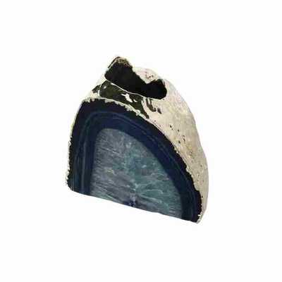 CELIO AGATE CANDLE HOLDER, BLUE/SILVER - Curated Kravet