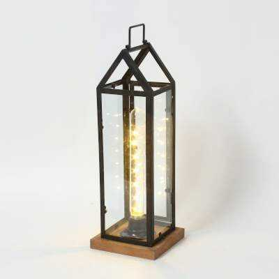 House Brown/Black Battery Powered Lantern - Wayfair