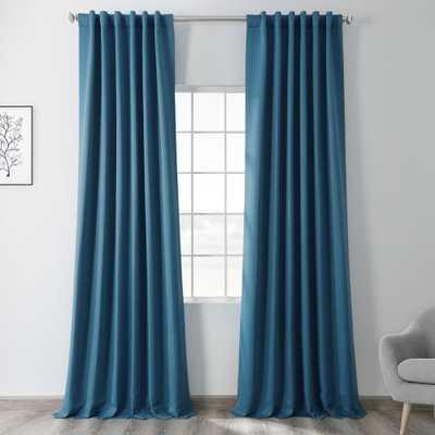 Tsunami Blue Blackout Room Darkening Curtain - 50 in. W x 84 in. L - Home Depot